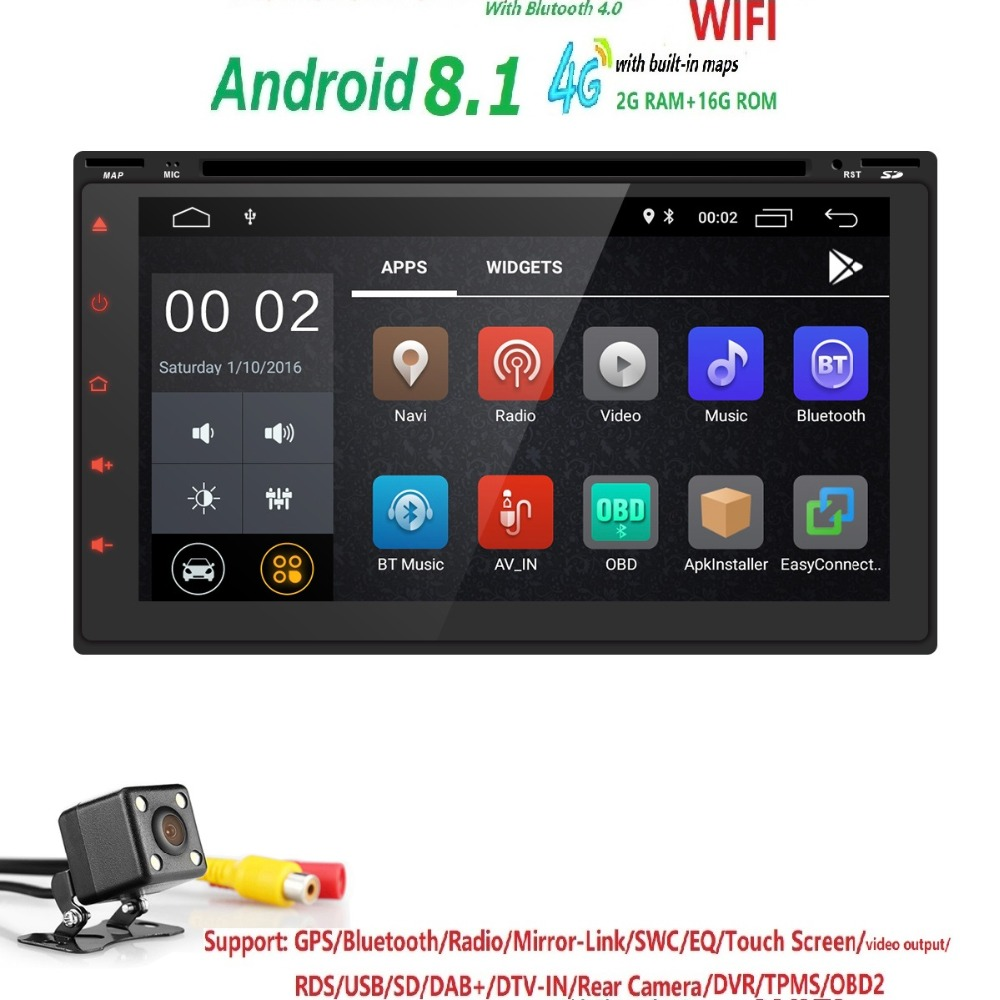 2G RAM 16G ROM 2 Din Android 8.1 Quad 4 Core Car DVD Player For Universal GPS Navigation Stereo Radio WIFI MP3 Audio USB SWC dab