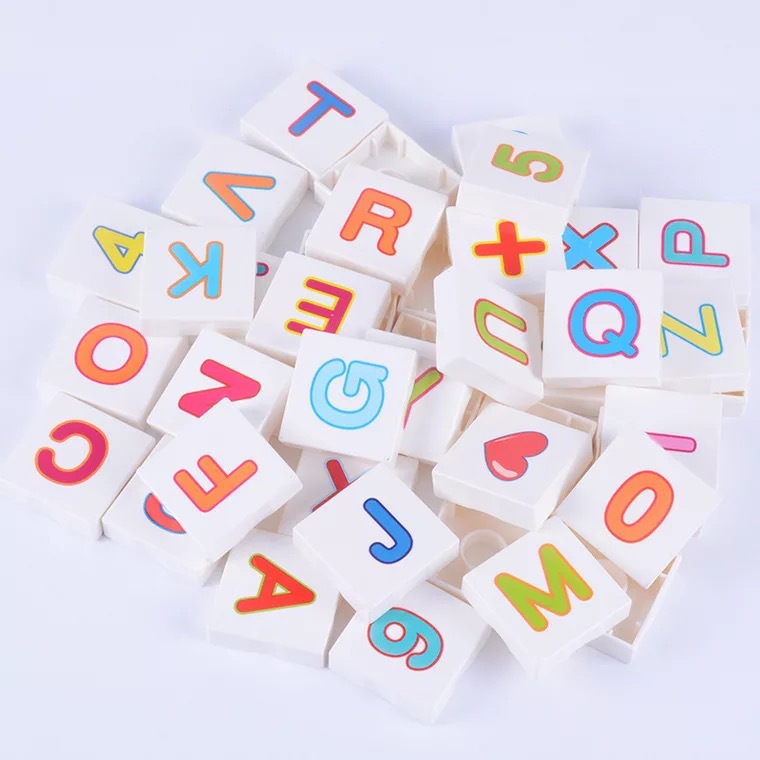 Square Big Numbers Letters Model Building Blocks alphabet figure Brick Kids Educational Toys Compatible with Duplo children Gift цена