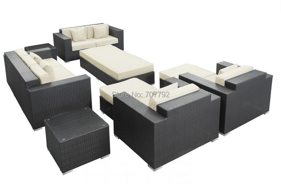 2017 Outdoor rattan furniture patio 9 Pieces sofa set white cushions China   Mainland. Popular Rattan Furniture Cushions Buy Cheap Rattan Furniture