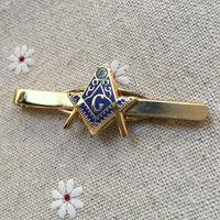 Масонский жесткий эмалированный зажим для мужского галстука Бесплатные масоны угольник и циркуль с G синий домик соратник ремесло