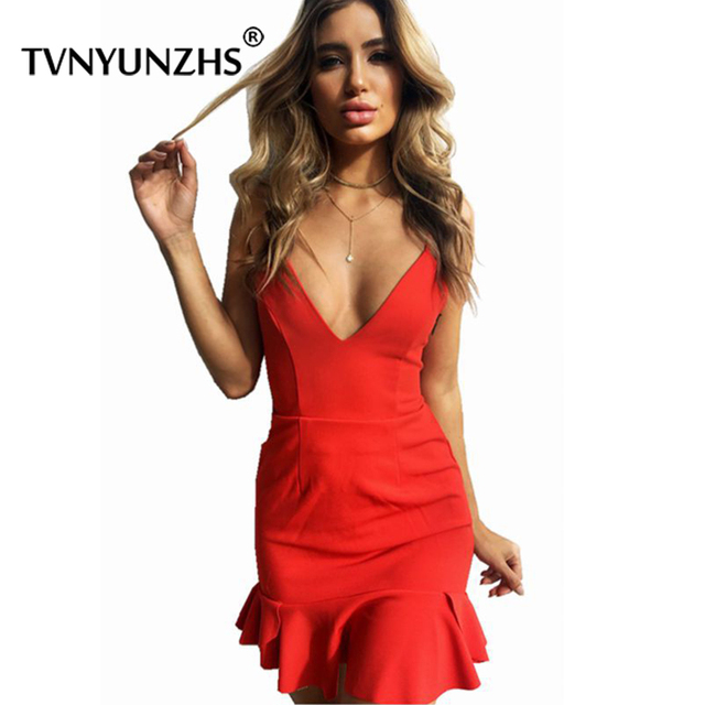 women deep v neck summer dress back lace up Sexy short dress Ruffles high  waist solid 2b57739710