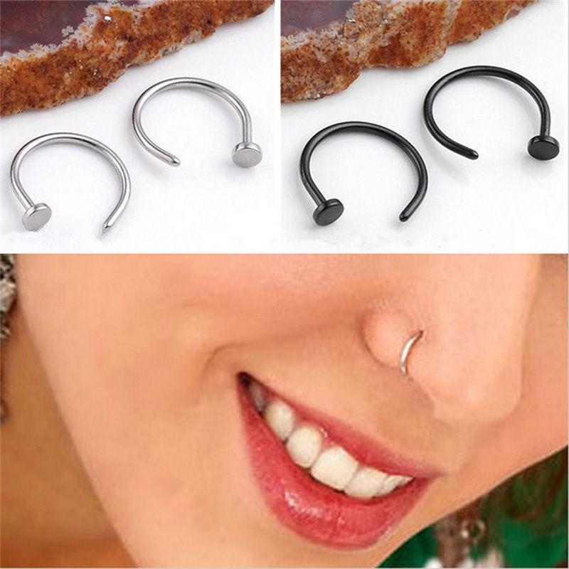 HTB1y6XgQFXXXXaBXFXXq6xXFXXXW Nostril Hoop Stud Ring Clip On Piercing