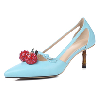 Kmeioo Women Shoes Cherry Pumps Slip On Ladies Stiletto Cut Out Pointed Toe Med Heels Thin Heel Wedding S