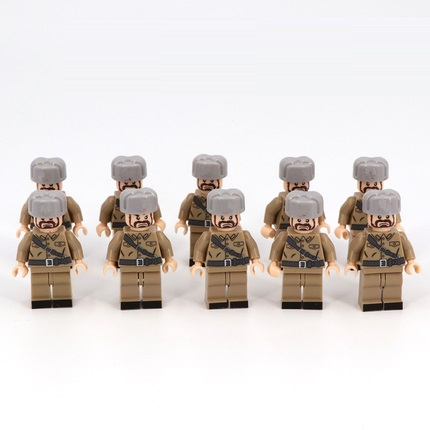 Soviet Infantry Soldiers Military Gun Weapons City Police Parts Playmobil Mini Figures Building Block Brick Original Toys