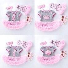 4 Uds. Por juego gris Rosa lindo 1ª cumpleaños niña Tutu vestido princesa corona Jumpersuit vincha zapatos Leggins 0 24 meses