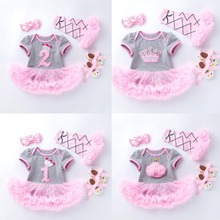 4 pçs por conjunto cinza rosa bonito 1st 2nd aniversário bebê menina tutu vestido princesa coroa jumpersuit bandana sapatos leggins 0 24months