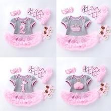 4PCs per Set Grey Pink Cute 1st 2nd Birthday Baby Girl Tutu Dress Princess Crown Jumpersuit Headband Shoes Leggins 0 24Months