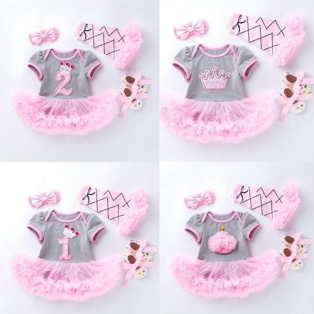 4PCs pro Set Grau Rosa Nette 1st 2nd Geburtstag Baby Mädchen Tutu Kleid Prinzessin Crown Jumpersuit Stirnband Schuhe Leggins 0 24Months
