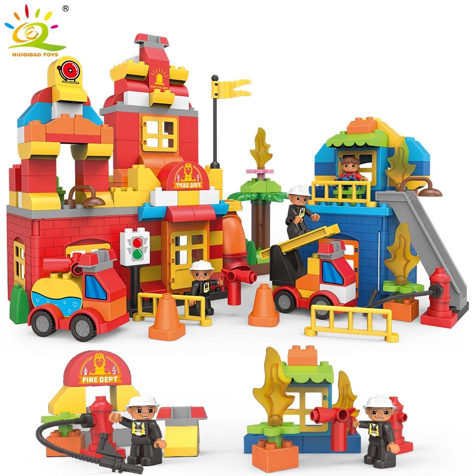 181 قطعة مدينة الاطفاء الحريق محطة كبيرة اللبنات Legoing Duploe كبيرة الطوب ألعاب تعليمية هدية للأطفال-في حواجز من الألعاب والهوايات على  مجموعة 1