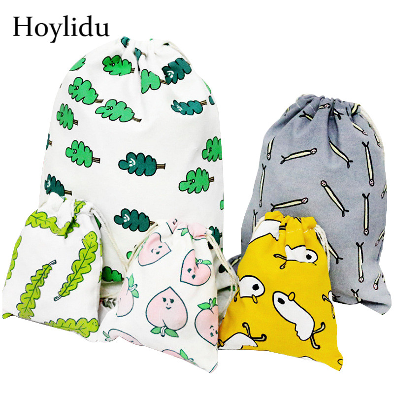 Cartoon Cute Cotton Drawstring Bag Women Shoes Cloth Bags Travel Makeup Bag Cosmetic Bag Female Toiletry Pouch Case Gift Package