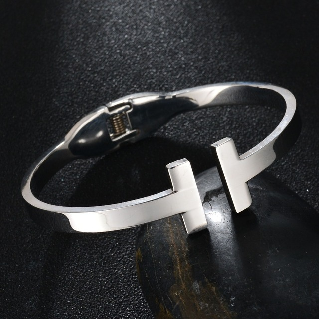 688212c1ee7 SPARK Famouse Brand Double Letter T Cuff Channel Bangle 316L Stainless  Sliver Plated Bangle   Bracelet Fashion Jewelry