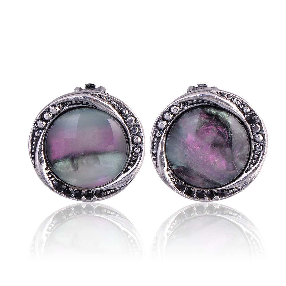 QIYIGE Fashion Black Color Earrings Round Shape Trendy Austrian Opal For Women Party Jewelry Gifts
