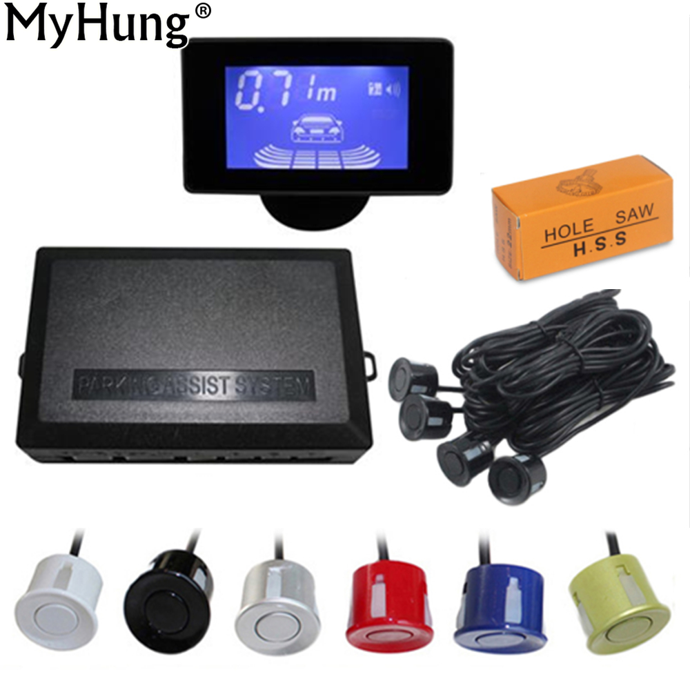 Auto Parktronic LCD Auto Parkplatz Sensoren mit 4 Sensoren Menschliche Stimme Reverse Backup Parkplatz Radar-Monitor Detektor System