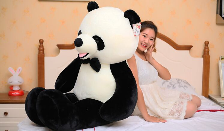 huge lovely plush panda toy big high quality bow panda doll gift about140cm 110cm cute panda plush toy panda doll big size pillow birthday gift high quality