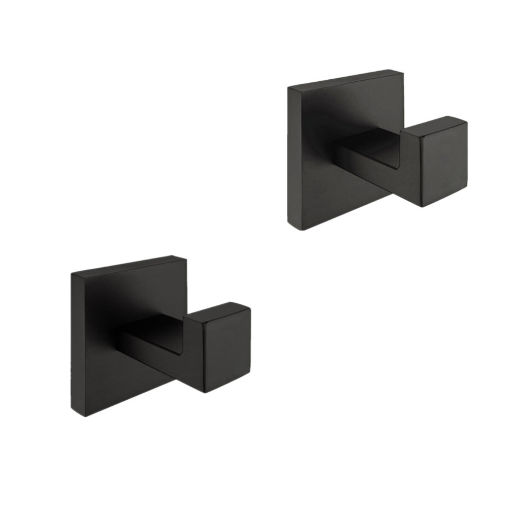 AUSWIND stainless steel black painting robe hook wall mounted square base bathroom accessories set