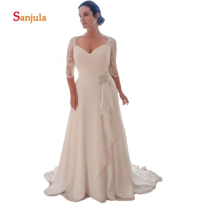 Plus Size Chiffon Wedding Dresses Sweetheart Pleats A-Line Pleats  Lace Half Sleeve Wedding Gowns Ruffles Skirt Beach Dress D539