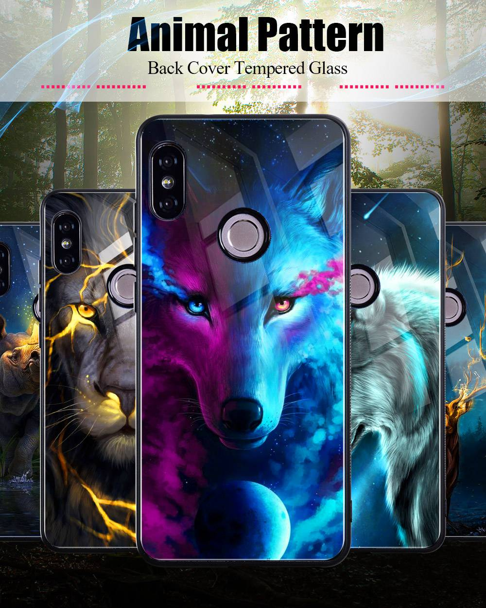 Tempered Glass Case For Xiaomi Redmi Note 5 5 Pro 5 Plus Note 4X Case Luxury Animal Pattern Case For Xiaomi Mi 8 A1 5X Coque     (0)