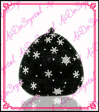 Aidocrystal special blink rhinestone snowflake black clutch handbag and shoes set