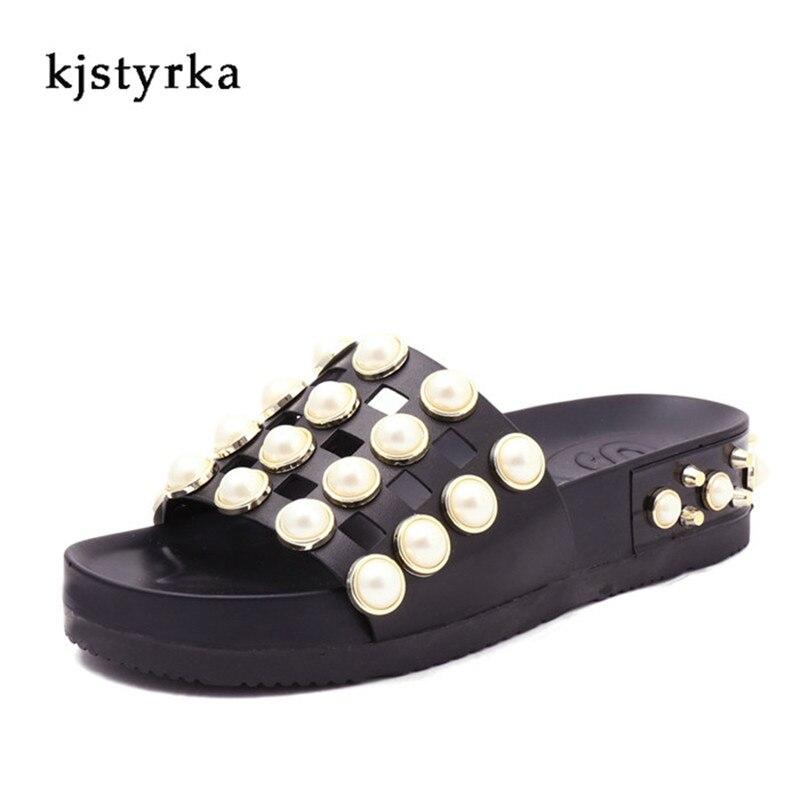Kjstyrka 2018 Для женщин модные летние тапочки на танкетке шлепанцы на платформе босоножки на каблуках Тапочки Zapatillas