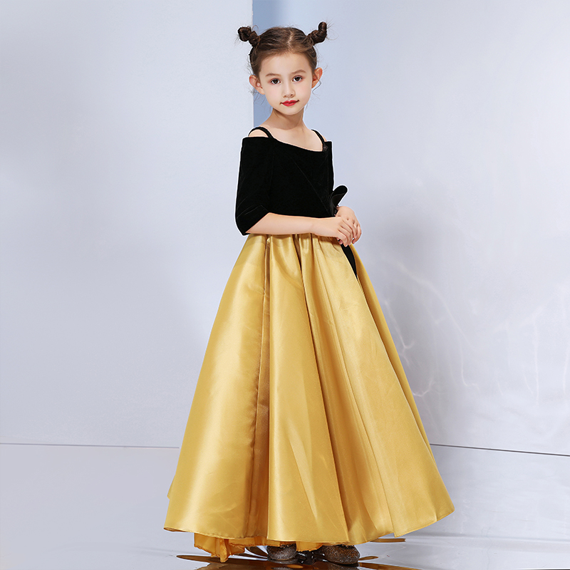 Mother Daughter Dresses Wedding Ball Gown Off Shoulder Golden Color Tutu Skirt Mommy and Me Clothes Family Look Matching Outfits - 4