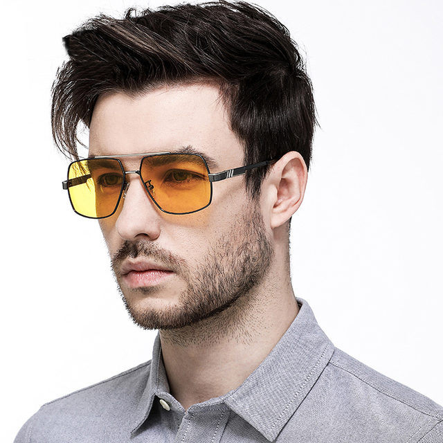 005d8693556 HD Night Driving Sunglasses Men Polarized Photochromic Sun Glasses Yellow  Lens Night Vision Driving Glasses Goggles Reduce Glare