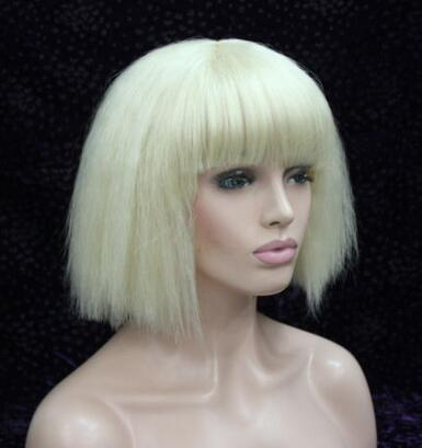 цена на Details about Fashion bob wig yaki straight Blonde short cosplay party synthetic hair