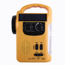 DC5V Emergency Solar Dynamo Radio LED Lights Charger Crank Outdoor Light Emergency Power Source Charger (Yellow)