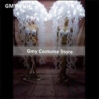 BC20 белый светодио дный легкие костюмы бальных танцев этап носит зонтик светящаяся Медуза нарядное платье световой наряды rave ткань