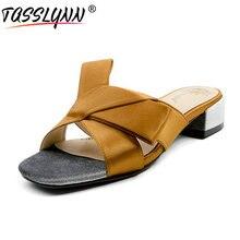 TASSLYNN 2018 Women Slippers Outside Satin PU Square Heels Shoes Woman Summer Women's Slippers Comfortable Med Heels Shoes
