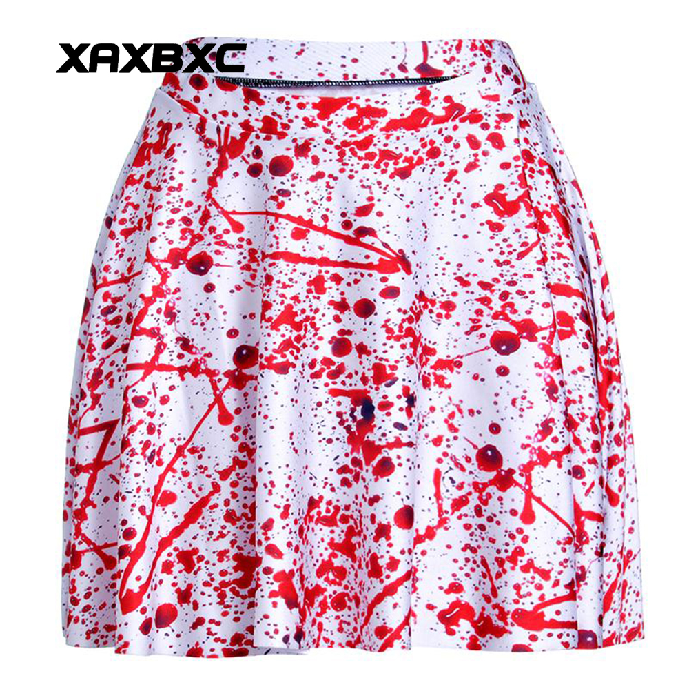 NEW 1168 Summer Sexy Girl Halloween Blood Nightmare Printed Cheering Squad Tutu Skater Women Mini Pleated Skirt Plus Size