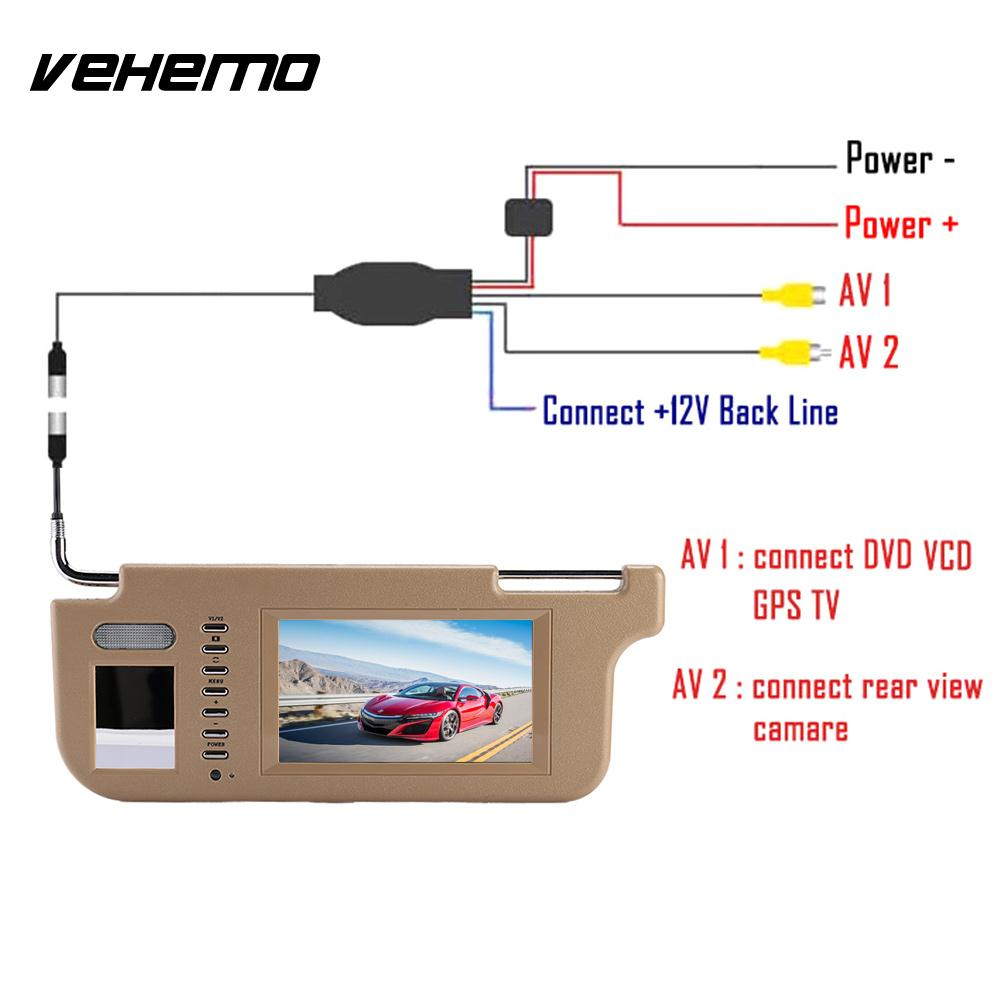 Vehemo Touch Car Sun Visor Monitor Rear View Camera Sunvisor View Monitor PAL NTSC Car DVD