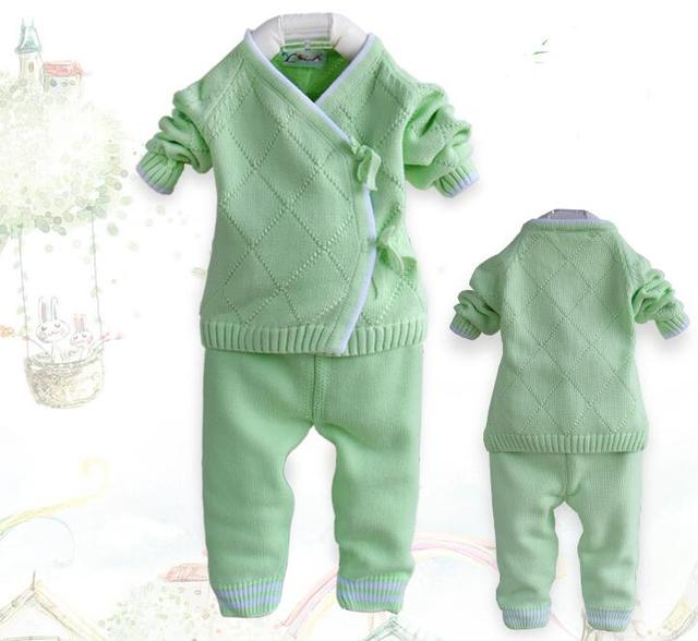 Baby sweater set newborn sweater autumn baby   knitted newborn baby clothes baby boys sweater set winter sweater+pants 2 pcs/set