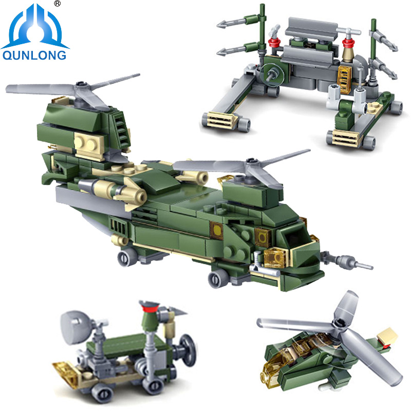 Qunlong Military Series Weapons 16 in 1 Tank Helicopter Building Blocks Compatible Legoe Technic Army Weapons Toys For Children 8 in 1 military ship building blocks toys for boys
