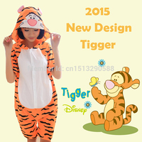 2015 Cute Animals Adult Pajamas Jumping Tigger Pattern Costume Pyjamas For Onesies Tigger Unisex Pajamas Adult