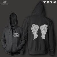 Anjo asas walking dead Daryl Dixon exército homens unisex 360g zip up com capuz de lã de algodão orgânico dentro com capuz pesado sweatershirt