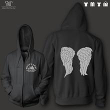 walking dead Daryl angel wings Dixon army men unisex 360g zip up hoodie organic cotton fleece inside heavy hooded sweatershirt