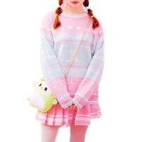 Winter Oversize Patchwork Sweet Kawaii Autumn Harajuku Ladies Sweaters Preppy Style Outwear Women Knitwear 2SWTKM22