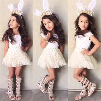 2016 Newest Polka Dot Baby Girls Dress Summer Toddler Kids Clothes Sleeveless Girl Tutu Dress Party