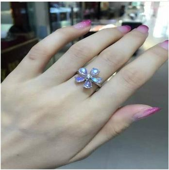Moonstone ring Free shipping Natural real moonstone 925 sterling silver Per jewelry 4*6mm 5pcs