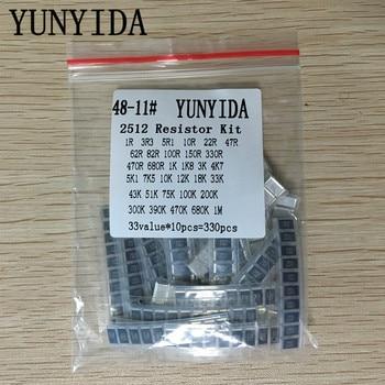 2512 SMD Resistor Kit Assorted Kit 1ohm-1M ohm 5% 33valuesX 10pcs=330pcs DIY Kit 0805 240k 5 1m smd resistor white 420 pcs