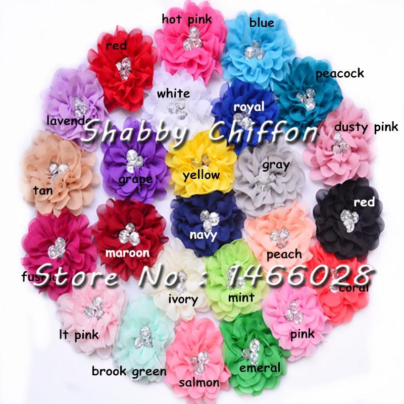 ePacket 50 pcs / lot , 3.5'' shabby chiffon flowers with rhinestone for hair fashion accessories headband 25 colors hot sale
