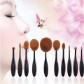 Black 10Pcs New Tooth Brush Shape Oval Makeup Brush Set Foundation Curve Powder Eyeshadow Lip Cosmetic Brush Facial Beauty Tools