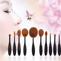 Negro 10 Unids Nuevo Cepillo de Dientes Forma Ovalada Curva de Cepillo Del Maquillaje Fundación Polvo de Sombra de Ojos Cepillo Cosmético Labio Belleza Facial herramientas