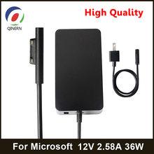 Qinern 12v 2.58a 36w ac adaptador carregador para microsoft surface pro4 pro3 portátil adaptador