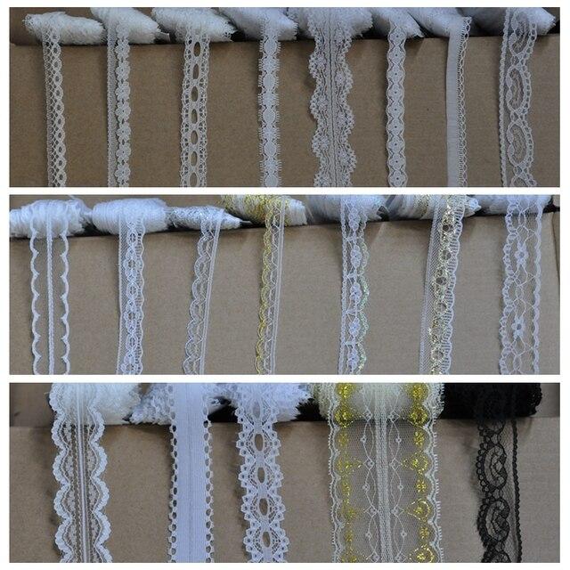 10 Metros (9.1 m)/lote laço de Fita de Poliéster de algodão Bordado Net Guarnição do laço para a roupa de Costura/casamento/Decoração/Scrapbooking.
