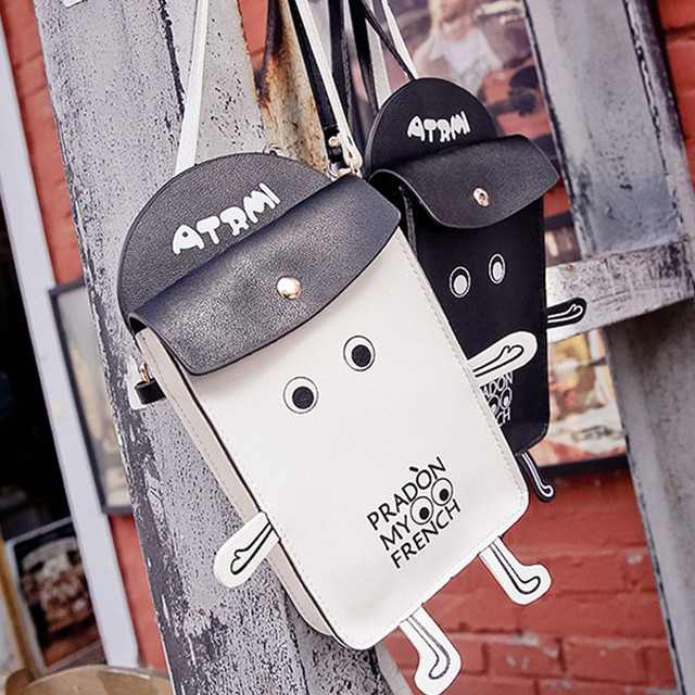 Korean Style Cartoon Robot Phone Bags For Women Mini Lovely Casual Leather Women Messenger Bags Character Funny Bags Ladies