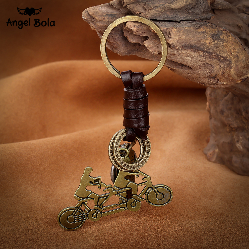 10Pcs/Lot Lover Bike Design Fashion Jewelry Multi Styles Vintage Keychains Personalized Leather Key Rings Accessories for Gift