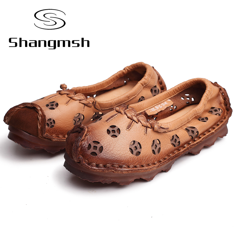 ФОТО Hollow Out Genuine Leather Flat Shoe Moccasins Loafers Female Slip On Chinese Casual Shoes Soft  Autumn Handmade Women Flat