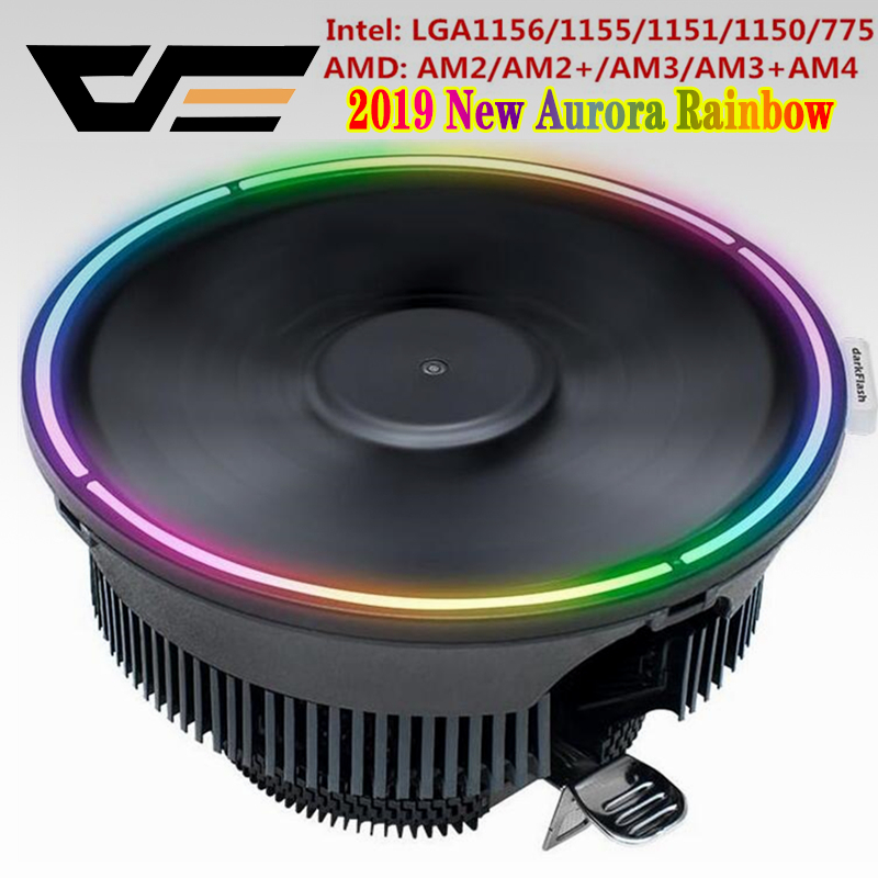 Darkflash Aigo מעבד קריר רדיאטור Led גוף קירור AMD Intel שקט 3Pin מחשב מעבד קירור למעבד צלעות מאוורר LGA/ 115X/775/AM3/AM4