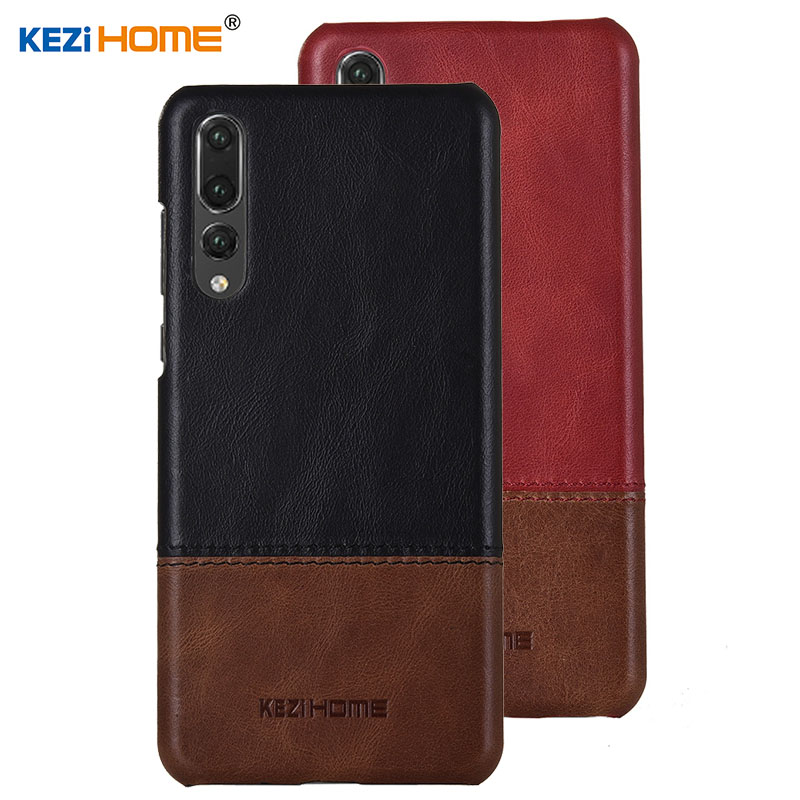 Case for Huawei P20 Pro KEZiHOME Luxury Hit Color Genuine Leather Hard Back Cover capa For Huawei P20 Pro 6.1'' Phone cases